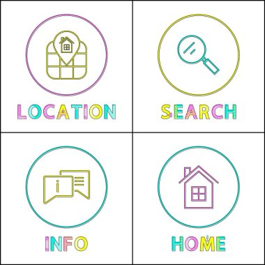 Object Location Information Retrieval Icons Set