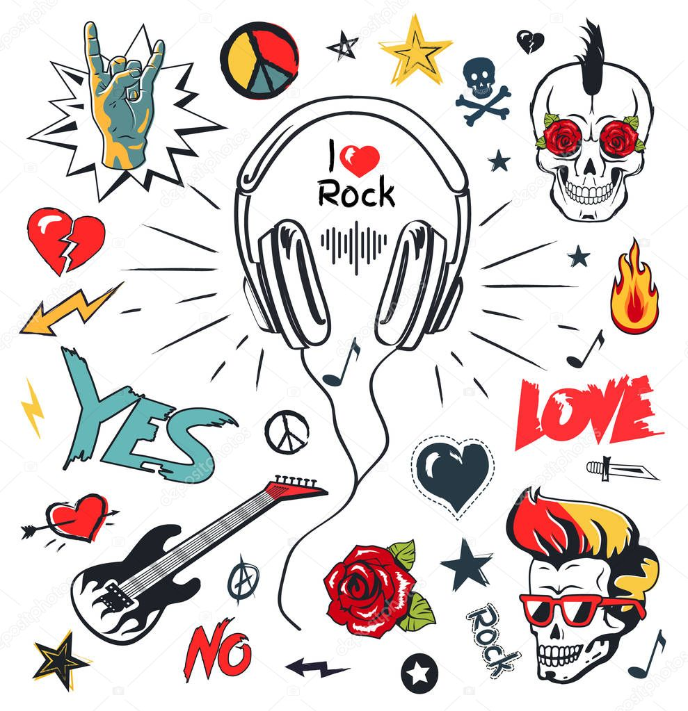Headphones Music, Musical Patches, Stickers Icons