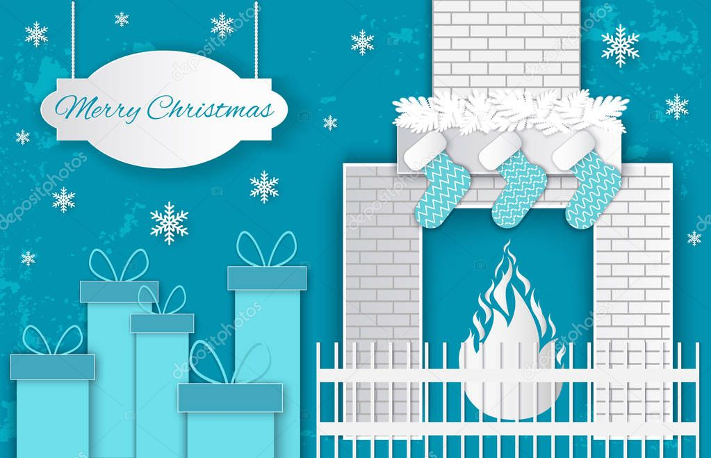 Home Merry Christmas. Fireplace and Present Vector