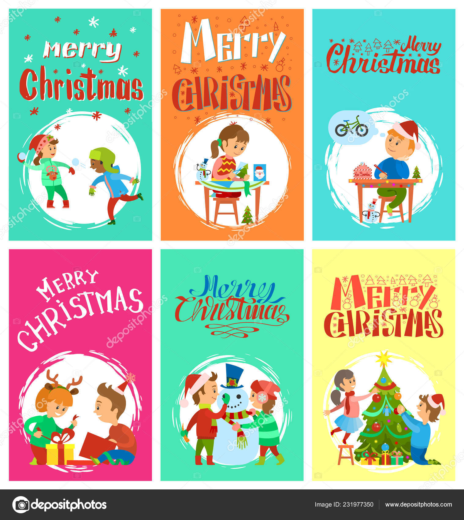 Merry Christmas Writing Clipart.Merry Christmas Wintertime Activities Kids Playing Stock