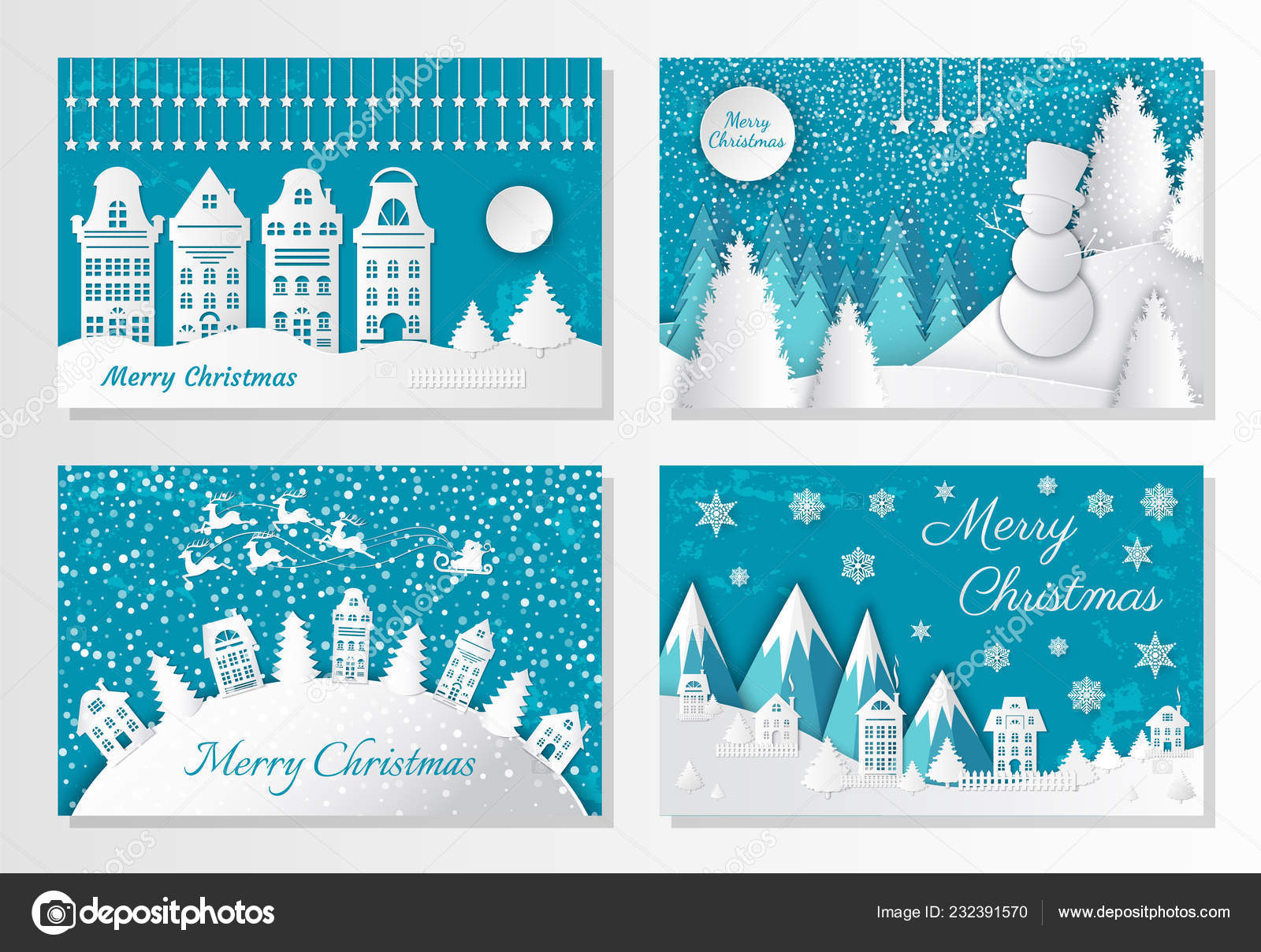 Mountain Christmas Cards.Merry Christmas Greeting Cards Mountains And City Stock