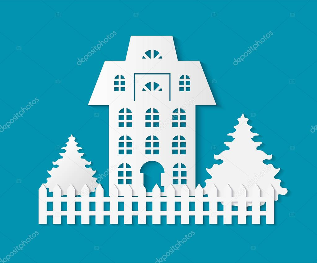 Building With Wooden Fence And Pine Tree Growing By Home Vector Town House Of Old Fashioned Style Apartment Paper Cut Christmas Winter Time Cutout Premium Vector In Adobe Illustrator Ai