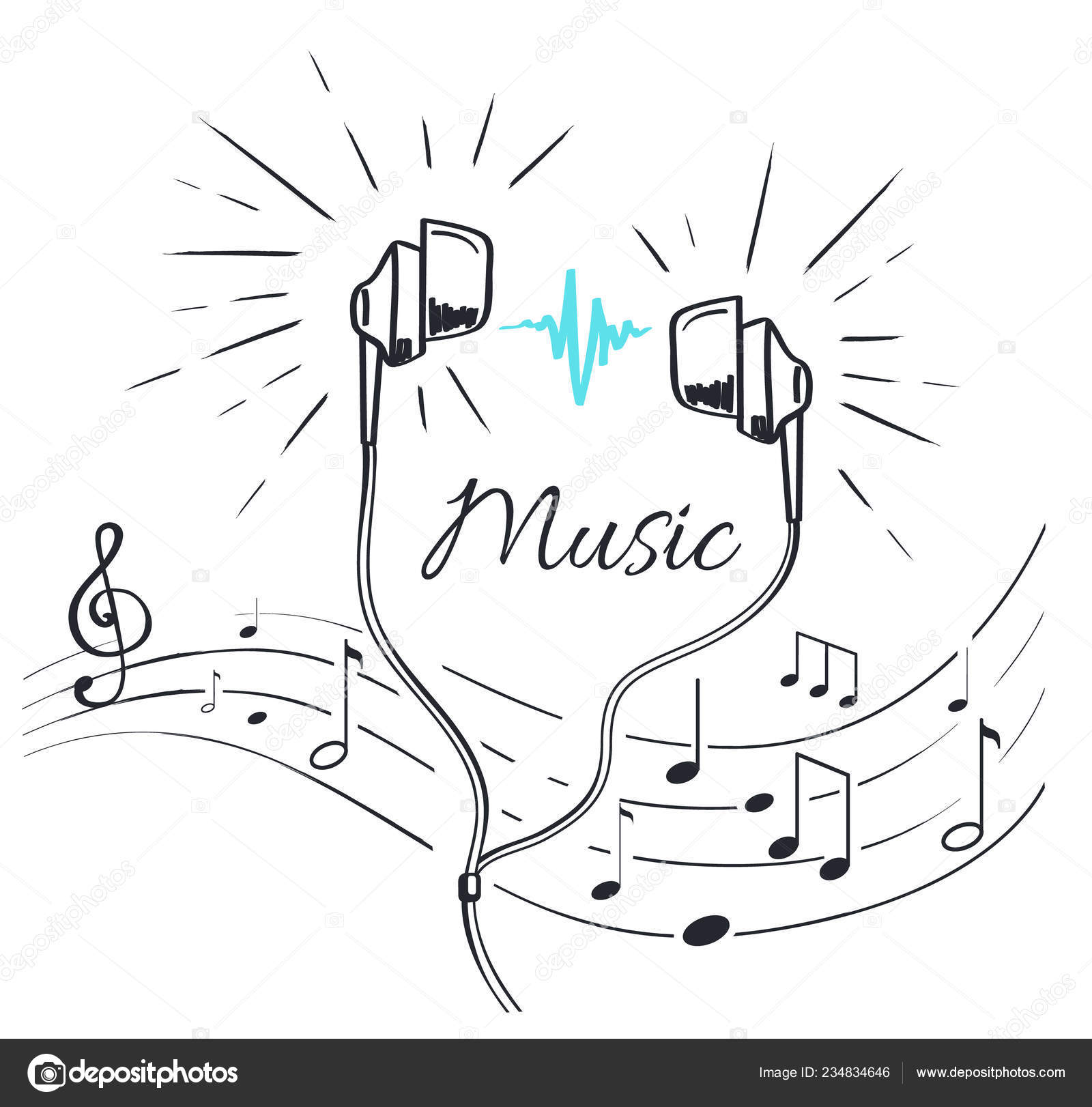 Music Headphones With Sounds And Notation Sketch Stock Vector