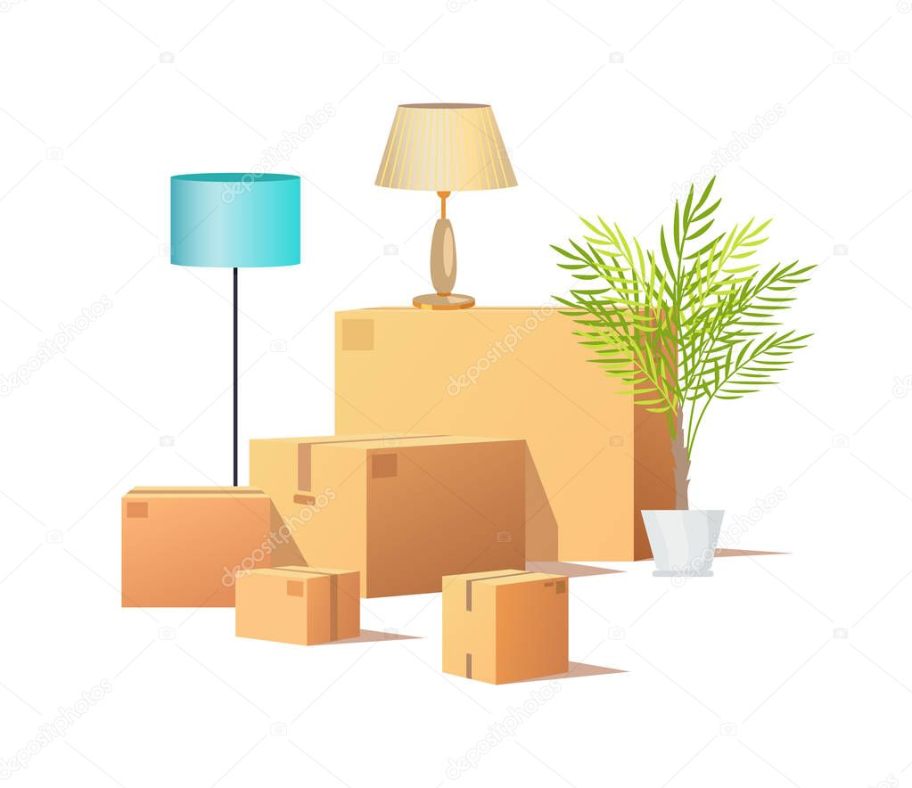Box Carton Cargo, Delivery of Packages Vector