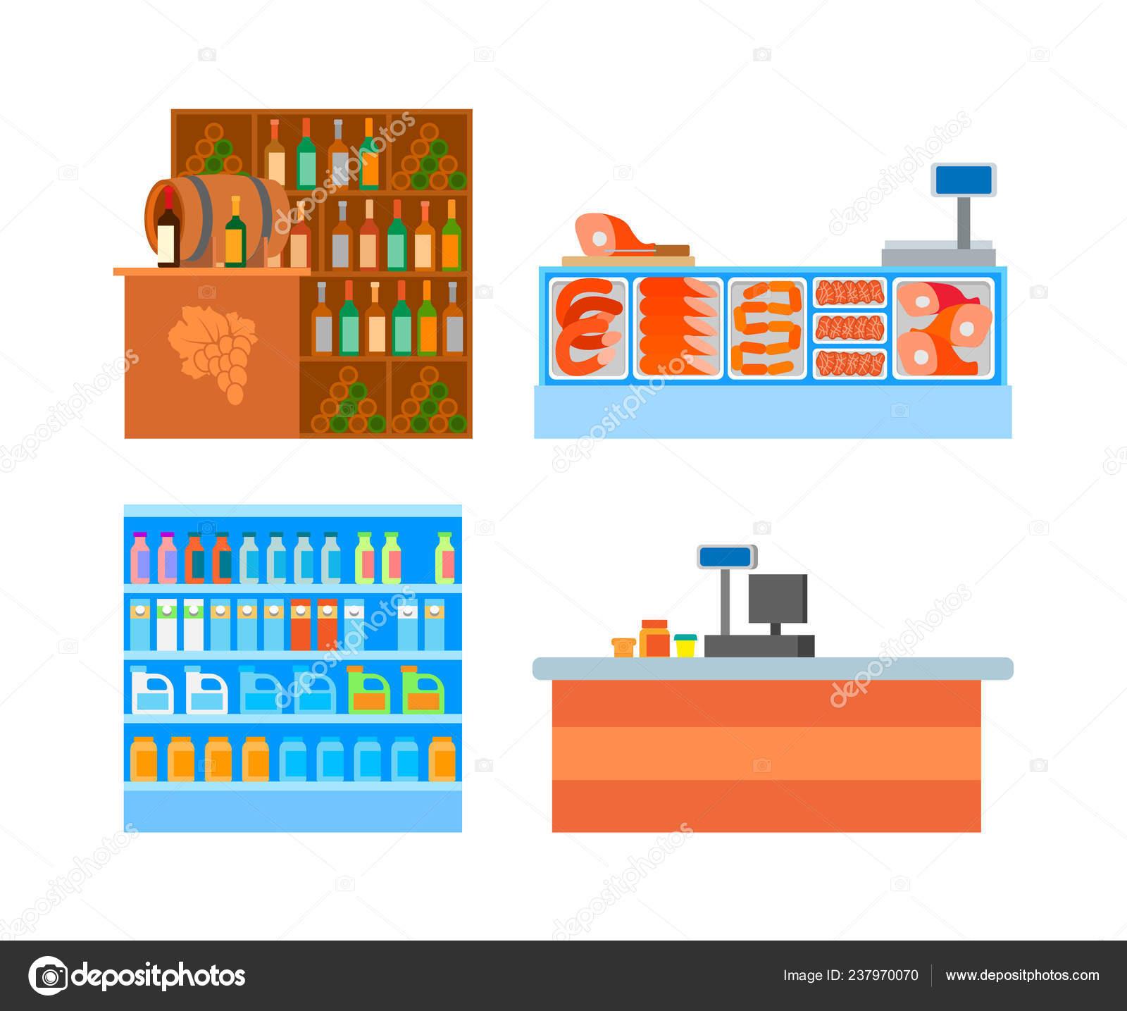 Departements De Supermarche Comptoirs Alimentaires Set Vector