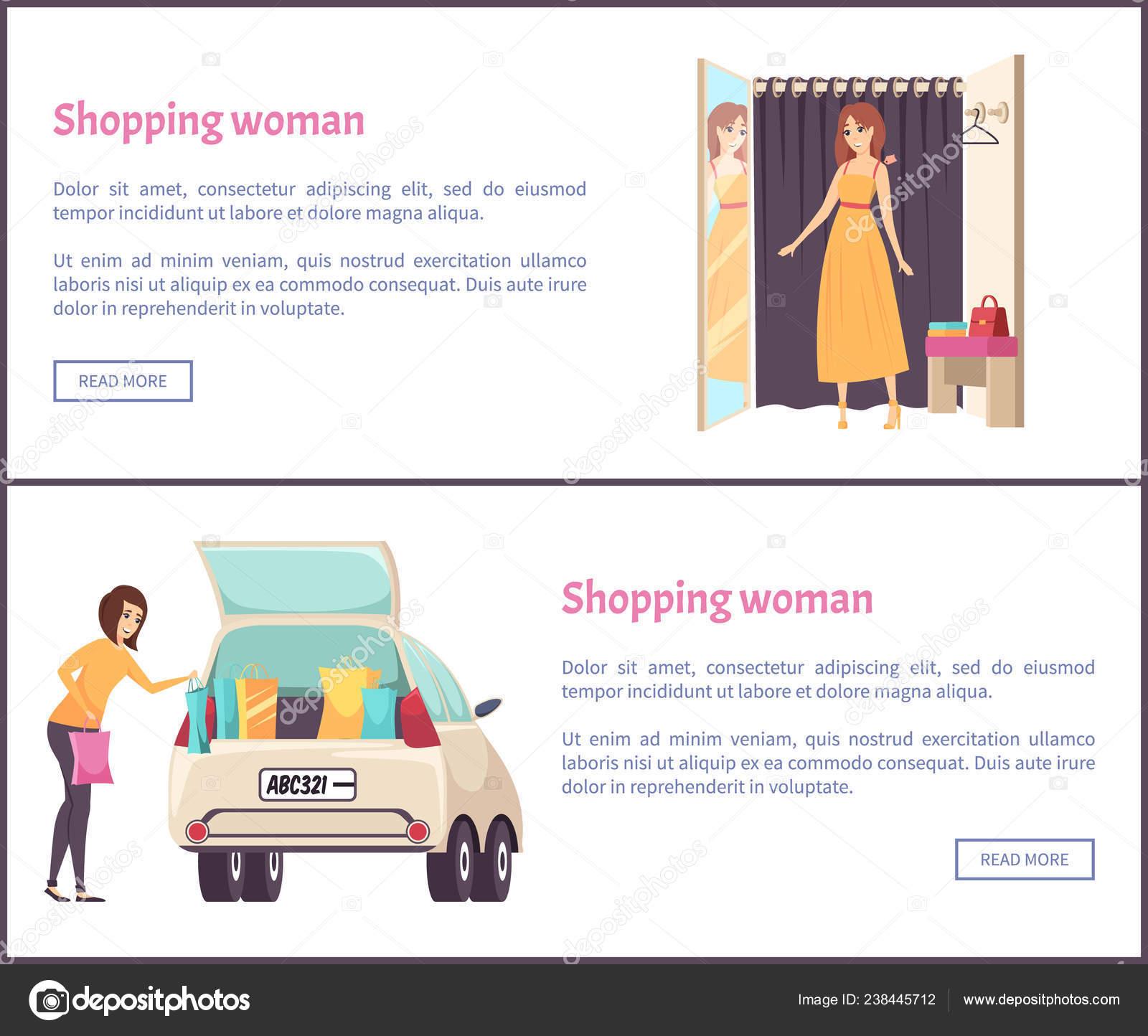 29f3ea2a5c53 Покупки женщины в Примерочная, примеряя новое платье– Векторная картинка