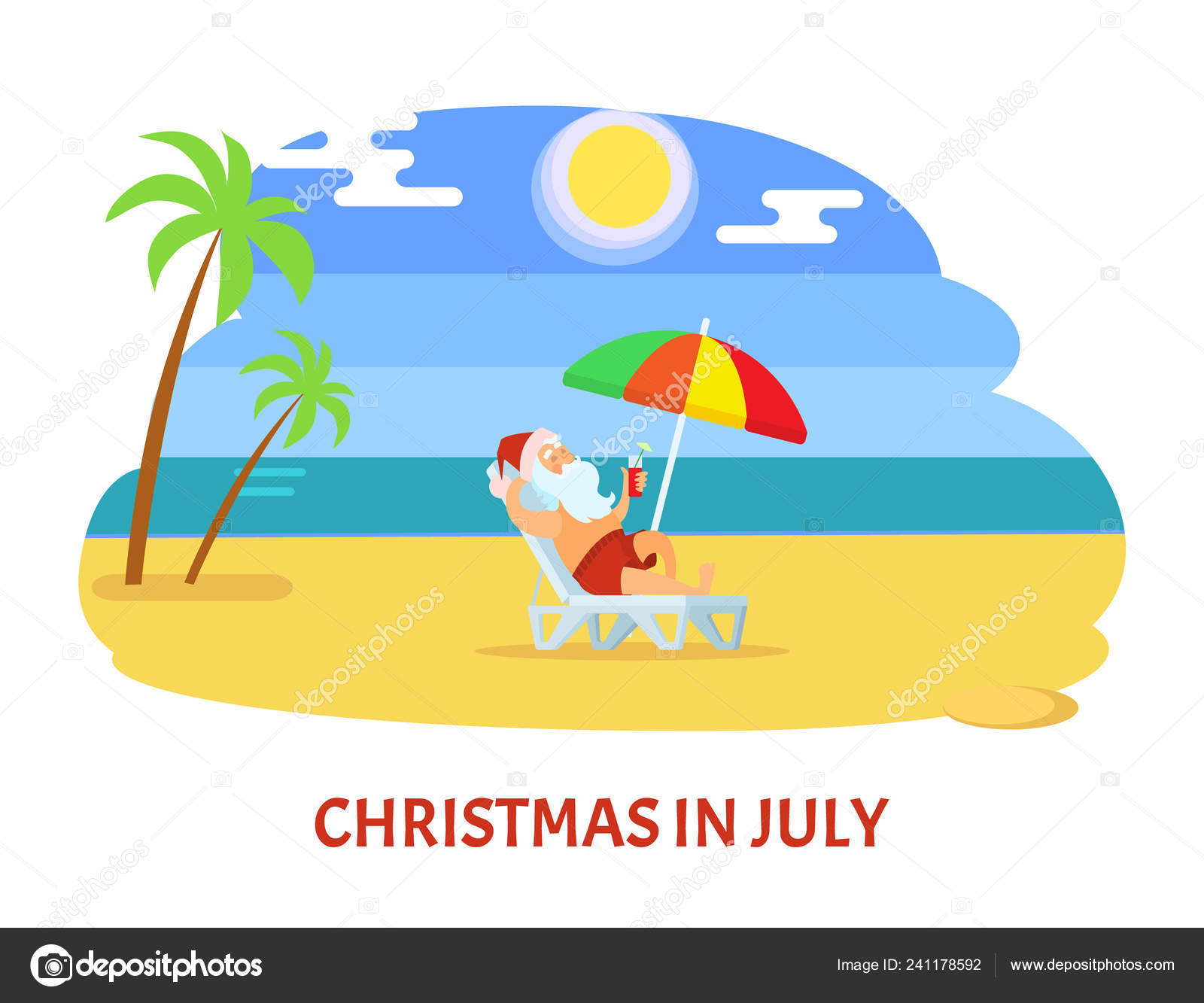 Christmas In July Clipart Free Download.Christmas In July Relaxing Holiday On Beach Vector Stock
