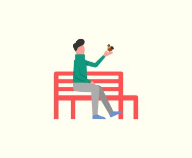 Man Sitting on Wooden Bench Playing with Birdie