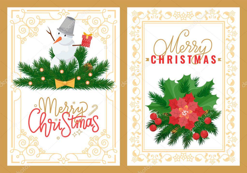 Merry Christmas Greeting Card, Snowman Mistletoe