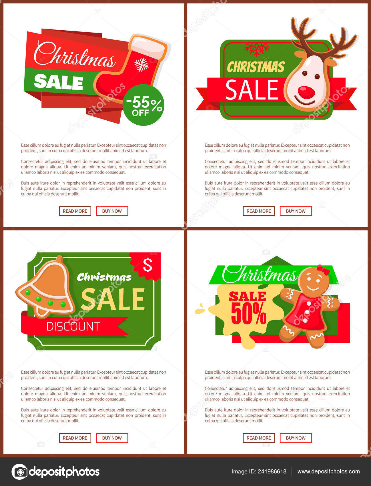 Christmas Sale Price Off Cookies And Text Web Stock Vector