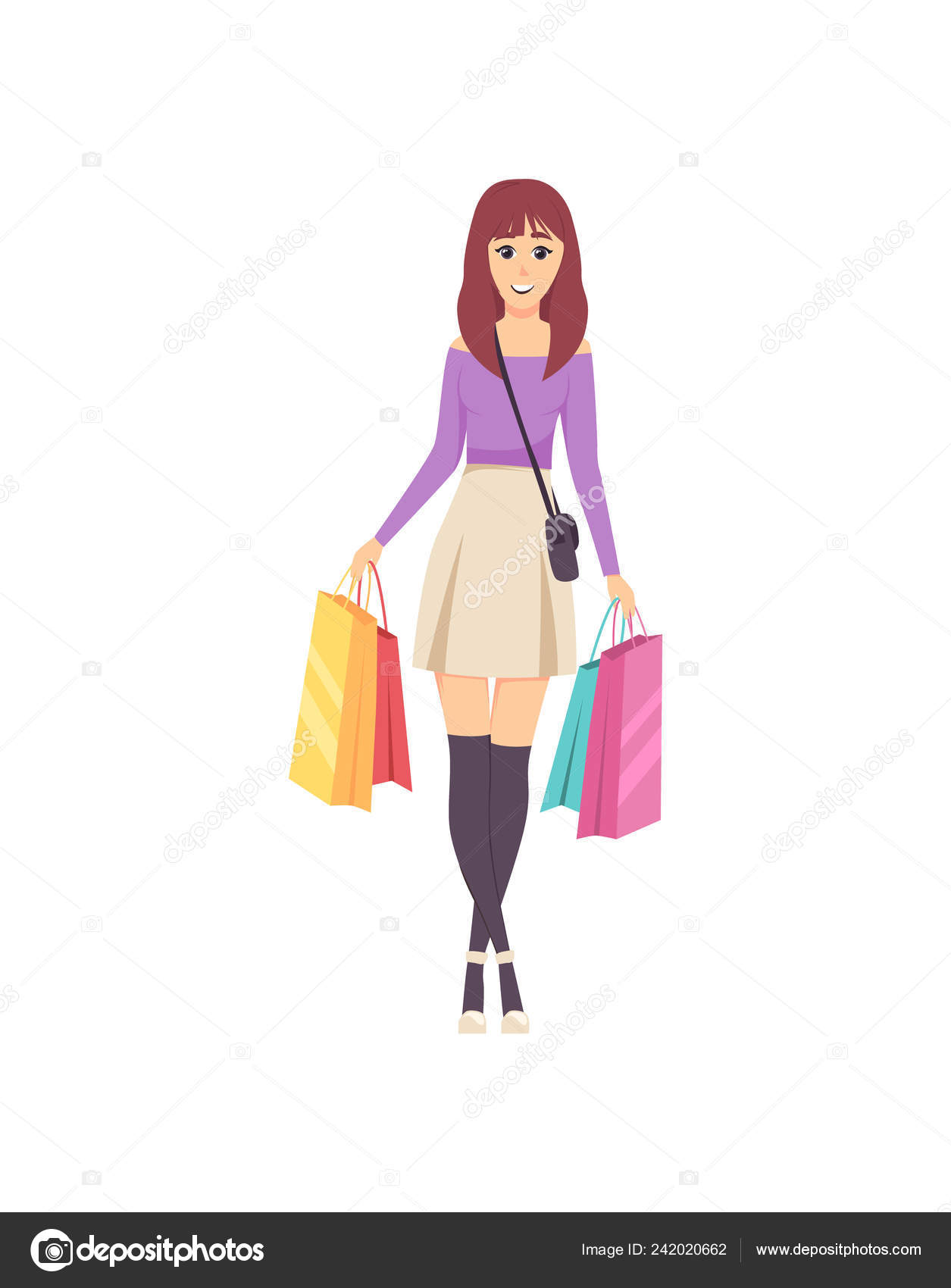 84ebfa637df Female Lady Walking with Bags and Handbag Vector — Stock Vector ...