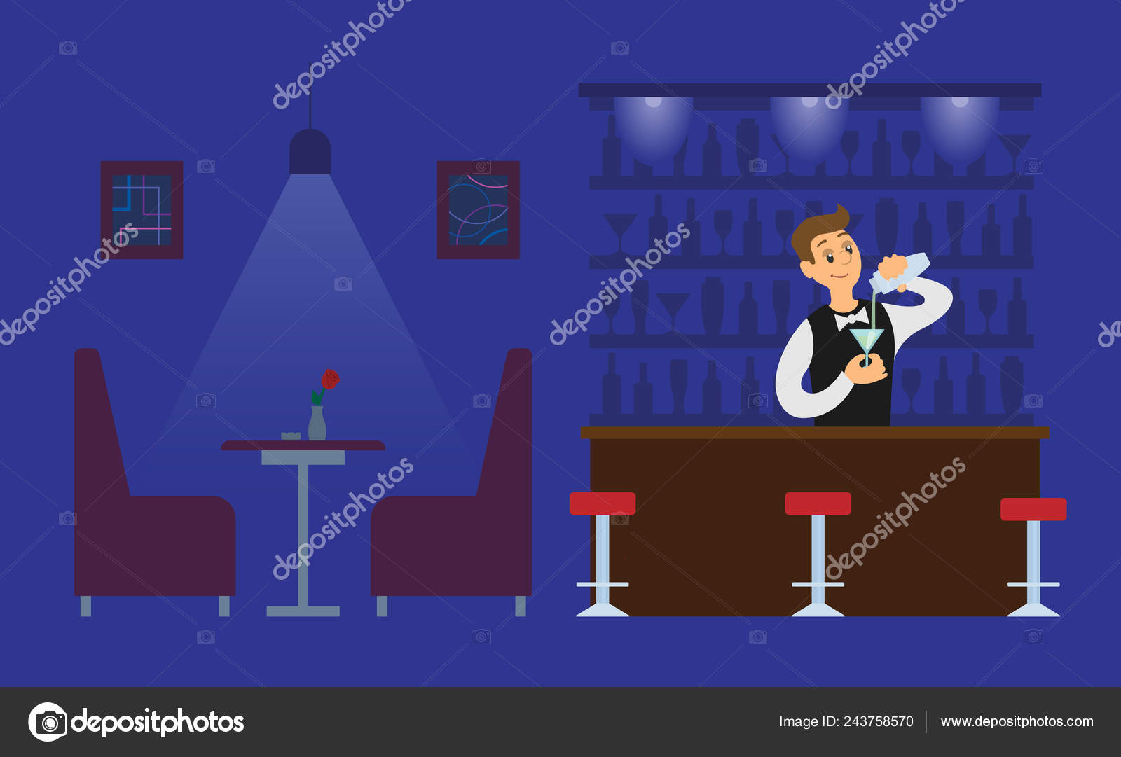 Night Club Bartender in Empty Hall with Drink — Stock Vector