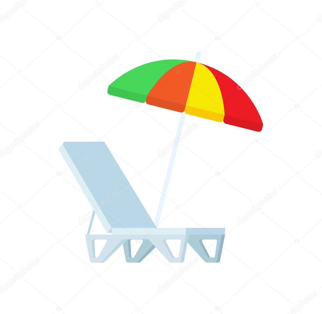Sunbed and Umbrella Vector Icons Chaise-lounge