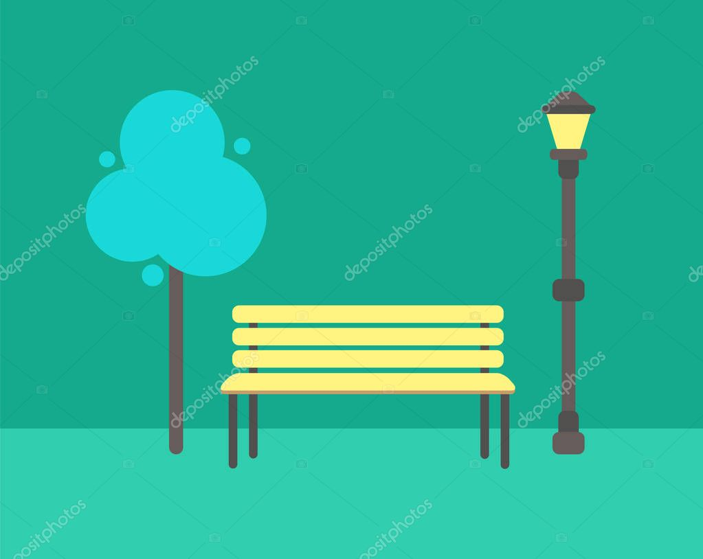 Wooden Bench, Abstract Tree and Street Lamp Vector
