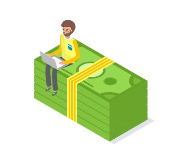 Businessman Sitting on Money Pack Isolated Vector