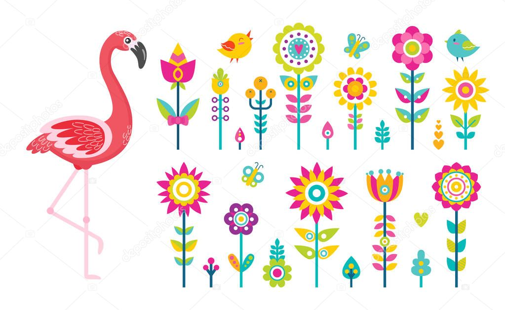 Summer Objects or Elements, Flamingo and Flowers