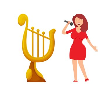Music Award in Form of Harp, Lady Singer Singing