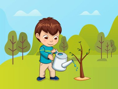 Child Caring for Nature, Boy with Watering Can