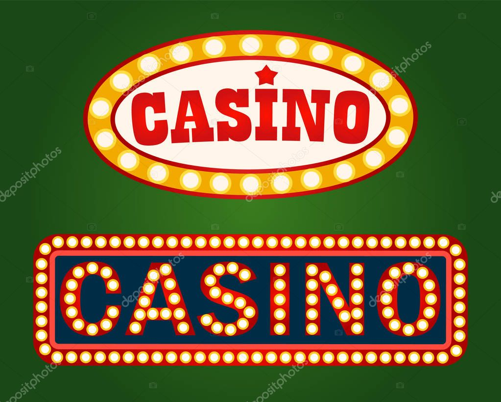 Casino Signboard With Lightbulbs Gambling Billboard On Green Poker Or Roulette Board With Neon Light Advertisement Of Night Entertainment Vector Premium Vector In Adobe Illustrator Ai Ai Format Encapsulated