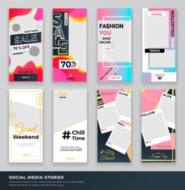 Set of covers for instagram stories. Trendy editable template photo for promotion and sale fashion you in online shop. Discount and clearance posters with empty space for social media story banners icon