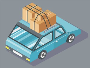 Passenger car with cardboard boxes tied together with black rope on top. Blue vehicle with carton containers. Transportation and moving house vector illustration icon