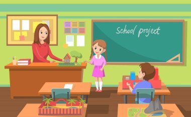 School Project Lesson in Classroom Teacher Pupils