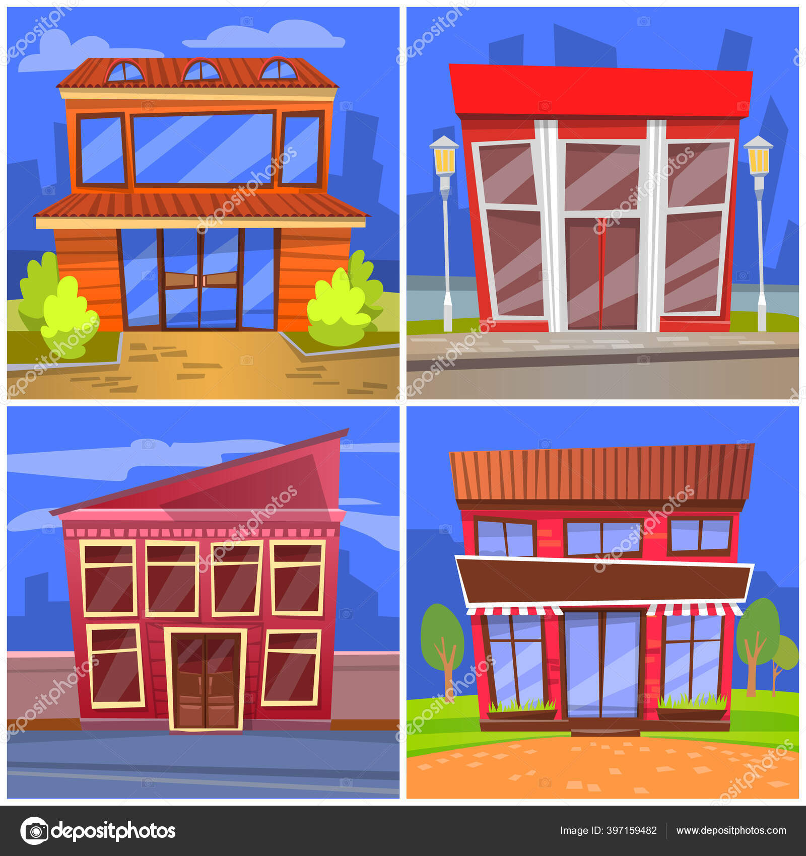 Cafe Or Restaurant Facades Diners Front View Stock Vector C Robuart 397159482