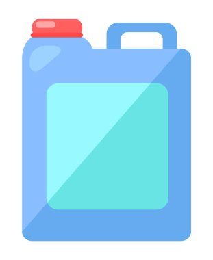 Plastic cartoon square blue canister with red lid. Container for storing liquids, chemicals. Liquid detergent for floors or utensils. Hazardous to nature detergents. Flat image isolated on white icon