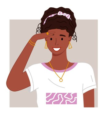 Portrait of young african woman with hairstyle, accessories looking forward. Smiling pretty black girl with golden earrings, necklace, ring on finger and bracelets. Happy afro female wearing t-shirt icon