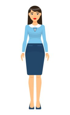 Isolated cartoon character stylish businesswoman wearing turquoise skirt with belt, blouse, shoes. Business lady style. Dresscode of office worker. Long-haired brunette with red lips, accessories icon