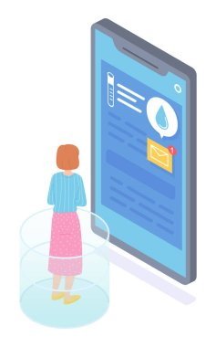 Worried girl chatting with laboratory assistant or doctor remotely for reason of her analyzes. Large cartoon smartphone screen with text messages, analysis flask, envelope icon. Online medicine icon