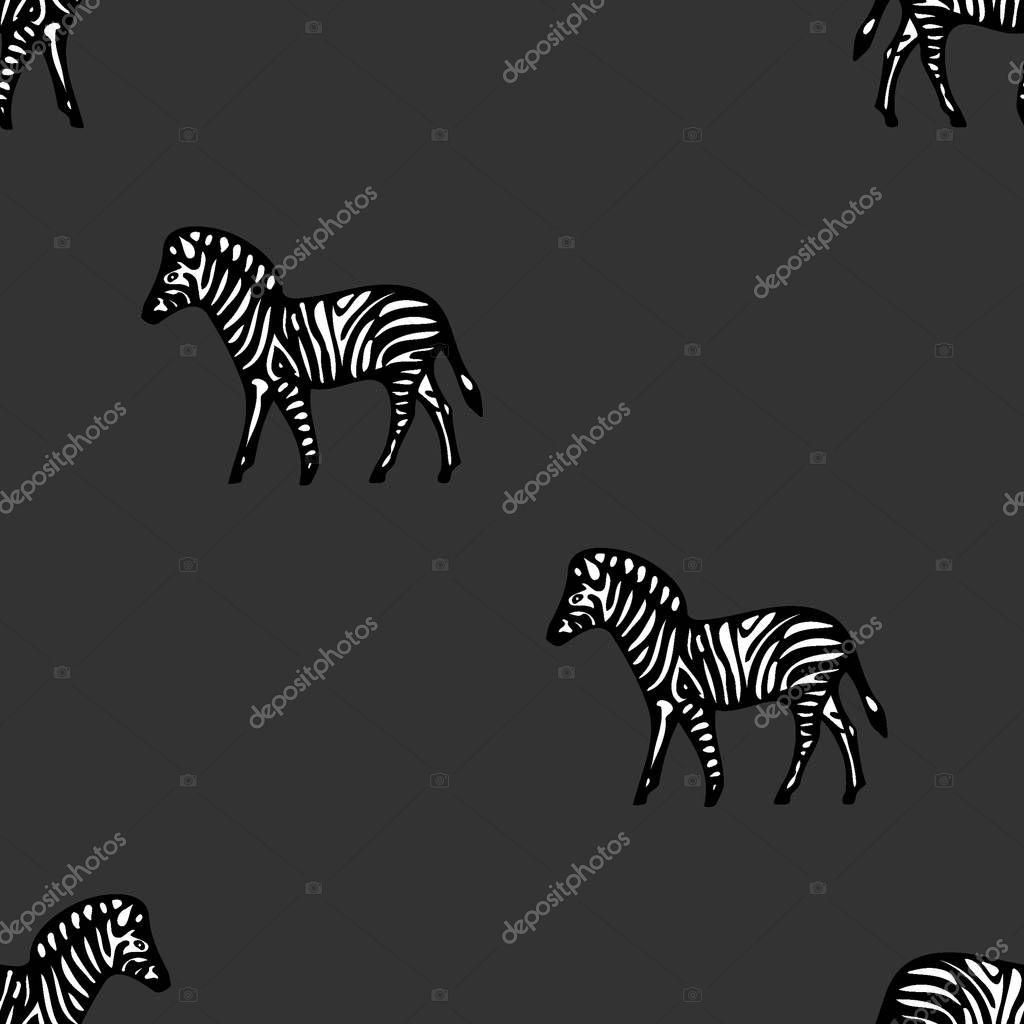Seamless pattern zebra on an dark background