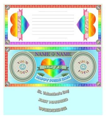 Sample form for congratulations. Rainbow heart. Happy Pride Day