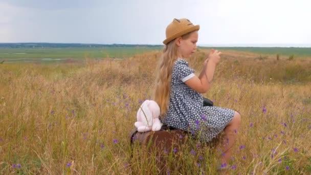 Děvče s dlouhými vlasy v slaměném klobouku a šaty sedí na starožitném kufru a fotí. Roztomilé dítě s měkkou hračkou při pohledu na přírodu krajiny pozadí. Dobrodružné cestování koncept v retro stylu