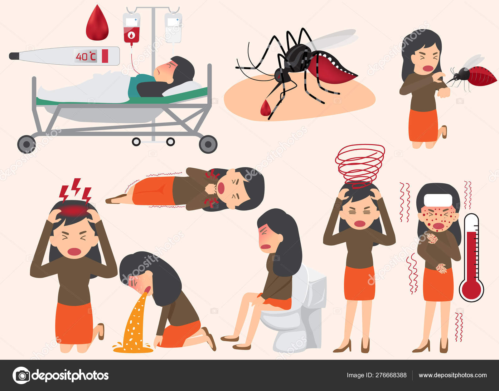 Template design of details dengue fever or flu and symptoms