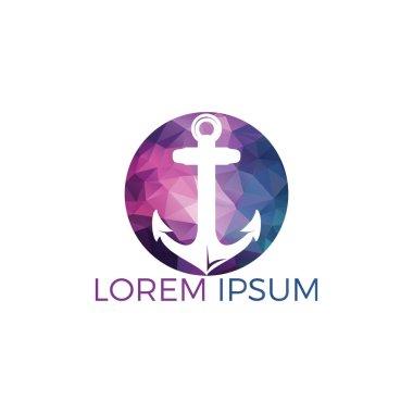 Ship Anchor vector logo design. Vector illustration for marine and heraldry design. Nautical Anchor vector logo design.