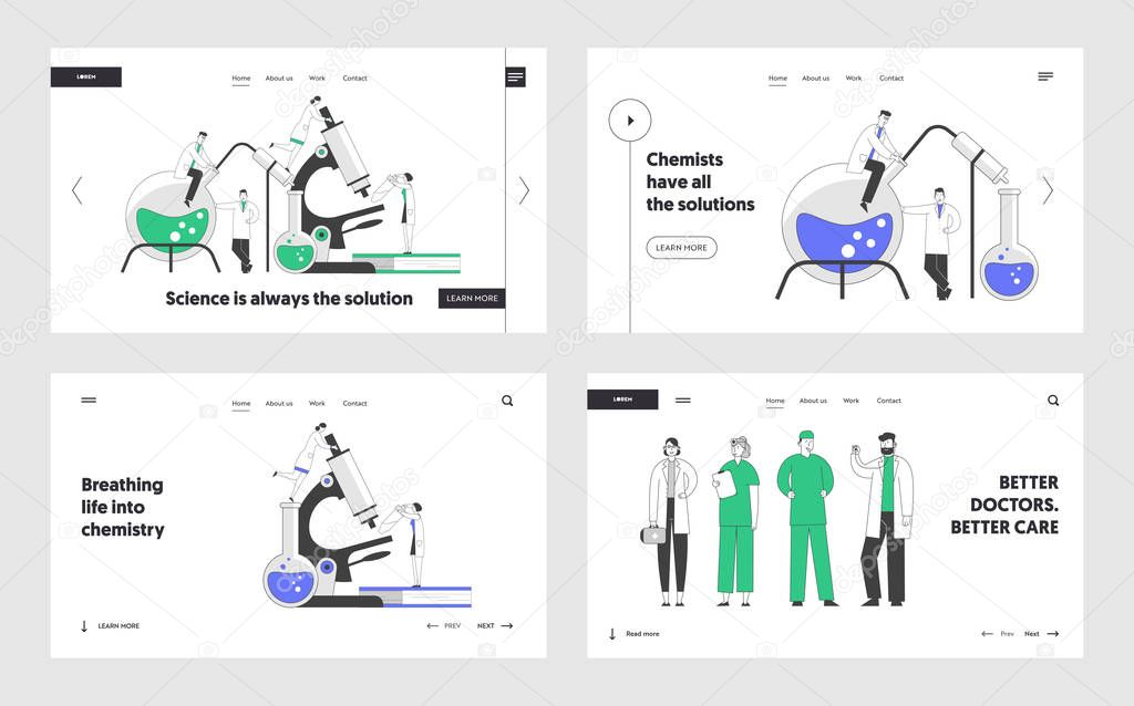 Chemistry And Medicine Website Landing Page Set Scientists Conducting Experiments In Science Laboratory Doctors Staff In White Robes Web Page Banner Cartoon Flat Vector Illustration Line Art Premium Vector In Adobe