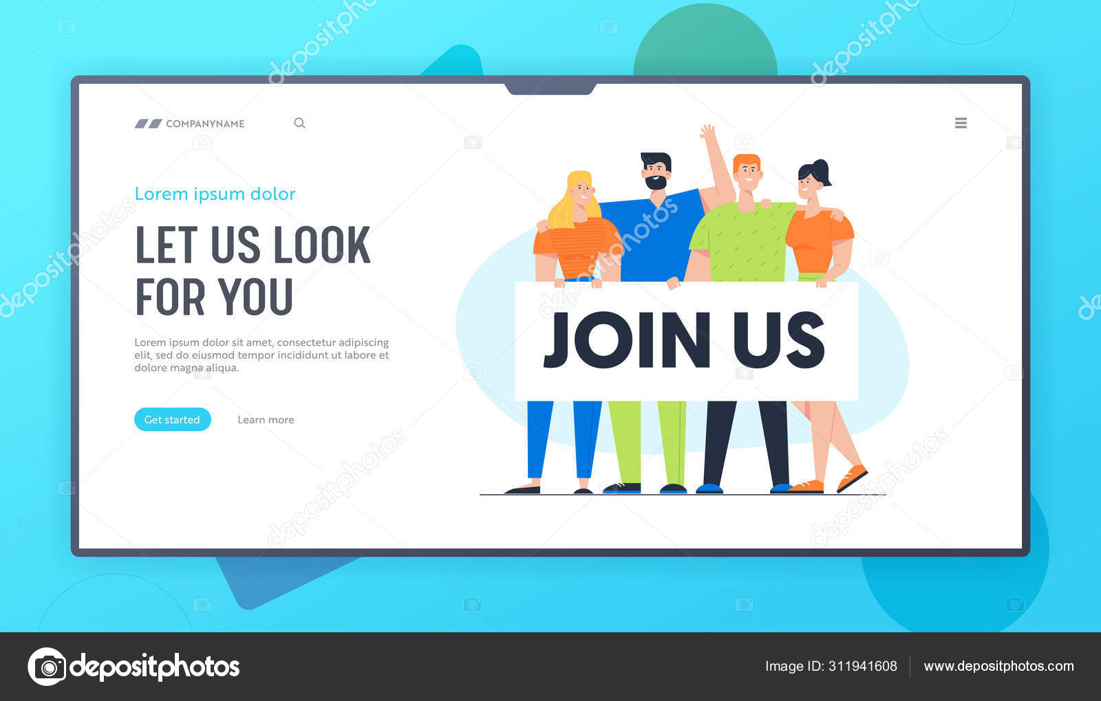 Hiring Career Employment And Searching Human Resources Website Landing Page People Men And Women Characters Holding Banner With Join Us Typography Web Page Banner Cartoon Flat Vector Illustration Stock Vector C