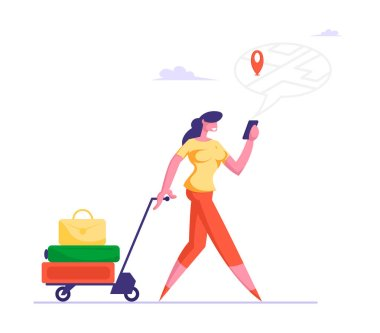 People Using Gadget Online Navigation App Concept. Woman Pulling Trolley with Luggage Watching on Mobile Phone Screen with Map and Location Marker Geo Tag Gps Pointer Cartoon Flat Vector Illustration