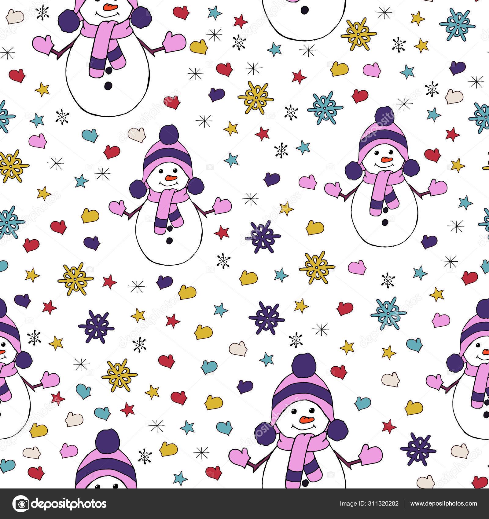 雪だるま モミの木や雪片とクリスマスシームレスなパターン 壁紙