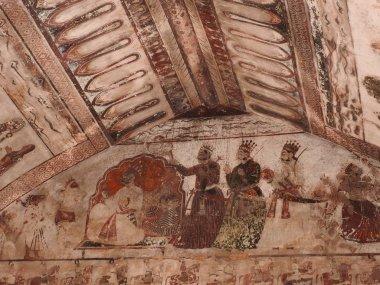 """Картина, постер, плакат, фотообои """"Настенные росписи форта и дворца Орчха, Мадхья-Прадеш, Индия."""", артикул 254260354"""