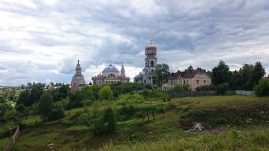 View on Novotorgsky Borisoglebsky Monastery in Torzhok. It is a town in Tver Oblast, Russia, located on the Tvertsa River. Torzhok is famous for its folk craft of goldwork embroidery.