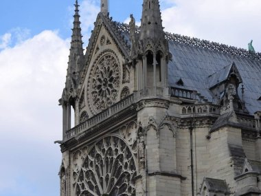 The facade of Notre Dame against the blue sky