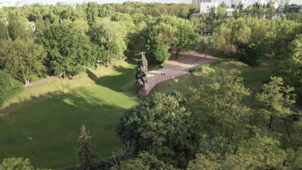 The symbol of the Holocaust - Babi Yar. The place of the murder of Jews during the Second World War. Aerial, slow motion. Kyiv, Ukraine.