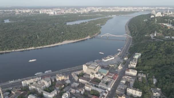 Aerial view of Kyiv, Ukraine. Slow motion, flat, gray