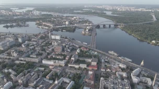 View of Kyiv from above. Ukraine. Aerial view, gray, flat