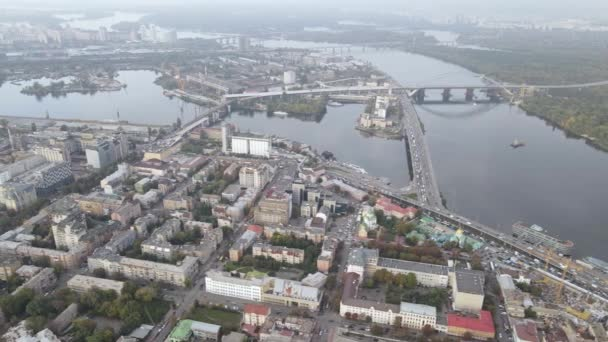 Kijevi városkép, Ukrajna. Légi felvétel, lassított felvétel