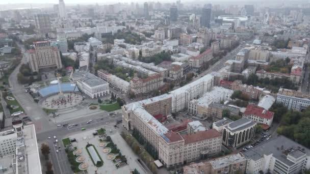 Cityscape z Kyjeva, Ukrajina. Letecký pohled, zpomalený pohyb