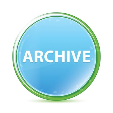 Archive natural aqua cyan blue round button