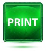 Tisknout neonové světle zelené čtvercové tlačítko